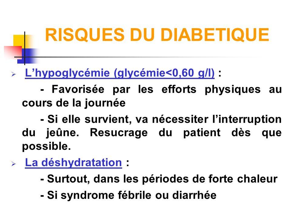 RISQUES DU DIABETIQUE L'hypoglycémie (glycémie<0,60 g/l) :