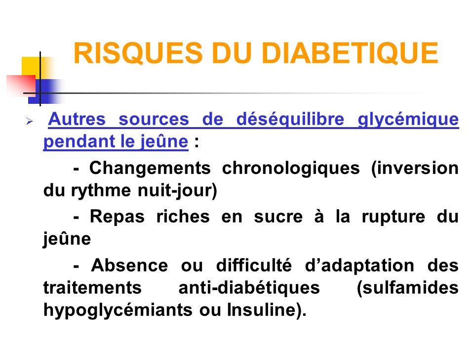 RISQUES DU DIABETIQUE Autres sources de déséquilibre glycémique pendant le jeûne : - Changements chronologiques (inversion du rythme nuit-jour)