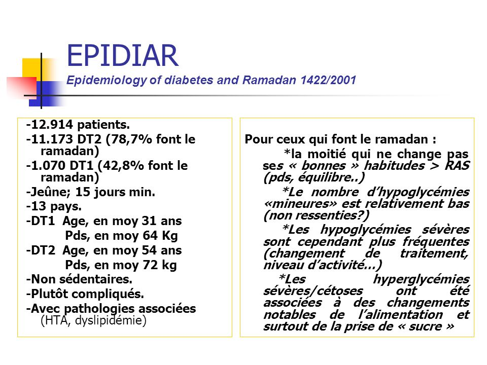 EPIDIAR Epidemiology of diabetes and Ramadan 1422/2001