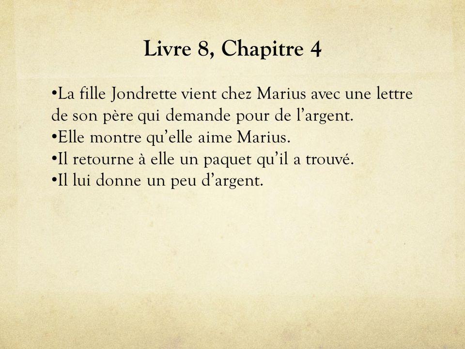 Livre 8, Chapitre 4 La fille Jondrette vient chez Marius avec une lettre de son père qui demande pour de l'argent.