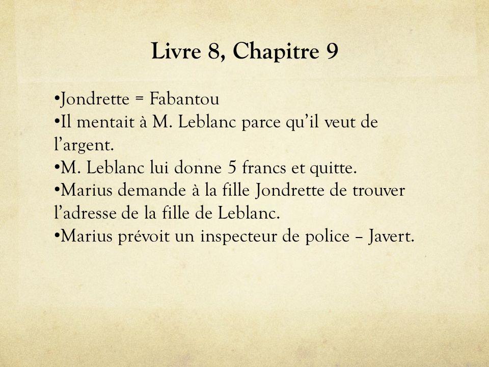 Livre 8, Chapitre 9 Jondrette = Fabantou