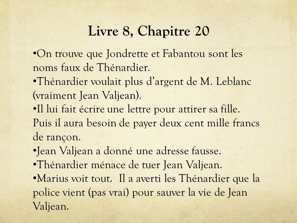Livre 8, Chapitre 20 On trouve que Jondrette et Fabantou sont les noms faux de Thénardier.