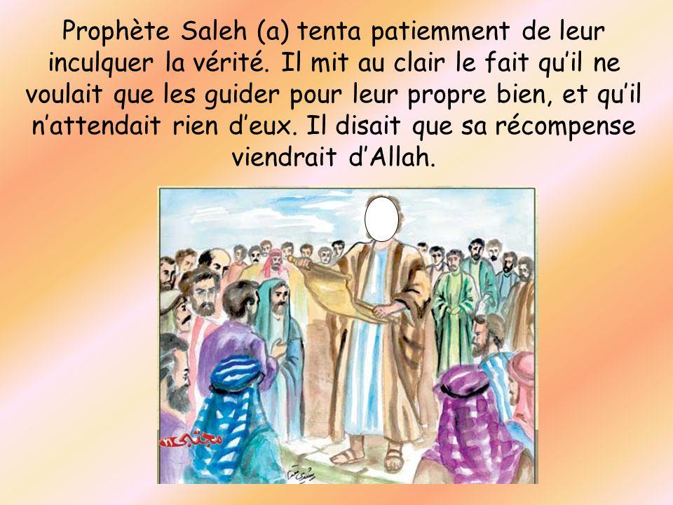 Prophète Saleh (a) tenta patiemment de leur inculquer la vérité