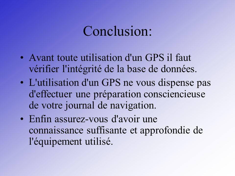 Conclusion: Avant toute utilisation d un GPS il faut vérifier l intégrité de la base de données.