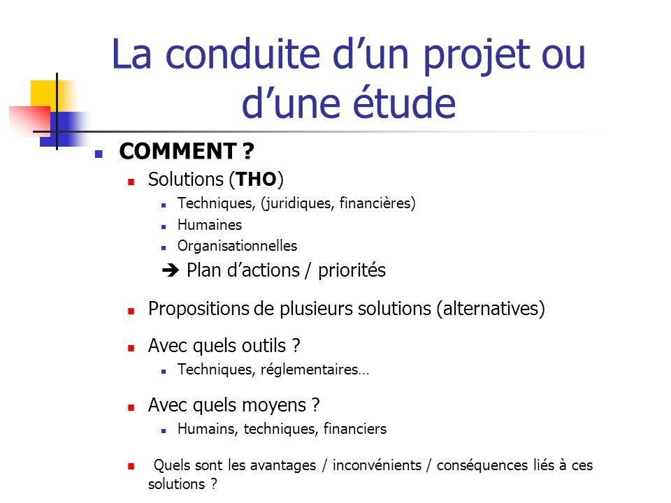 La conduite d'un projet ou d'une étude