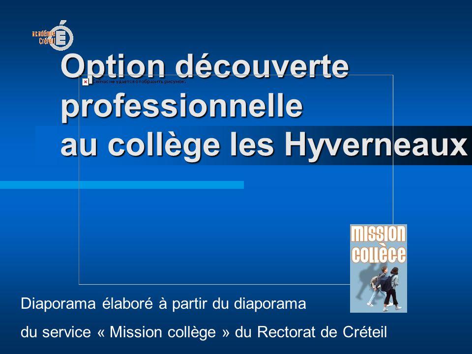 Option découverte professionnelle au collège les Hyverneaux
