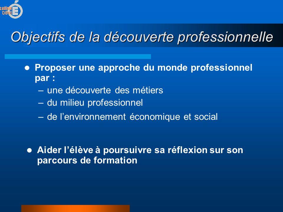 Objectifs de la découverte professionnelle