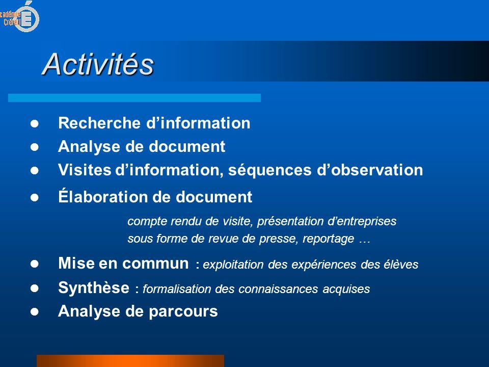 Activités Recherche d'information Analyse de document