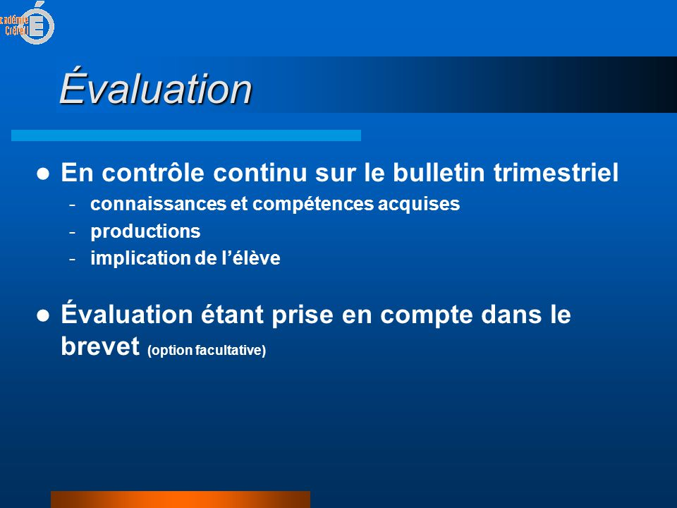 Évaluation En contrôle continu sur le bulletin trimestriel