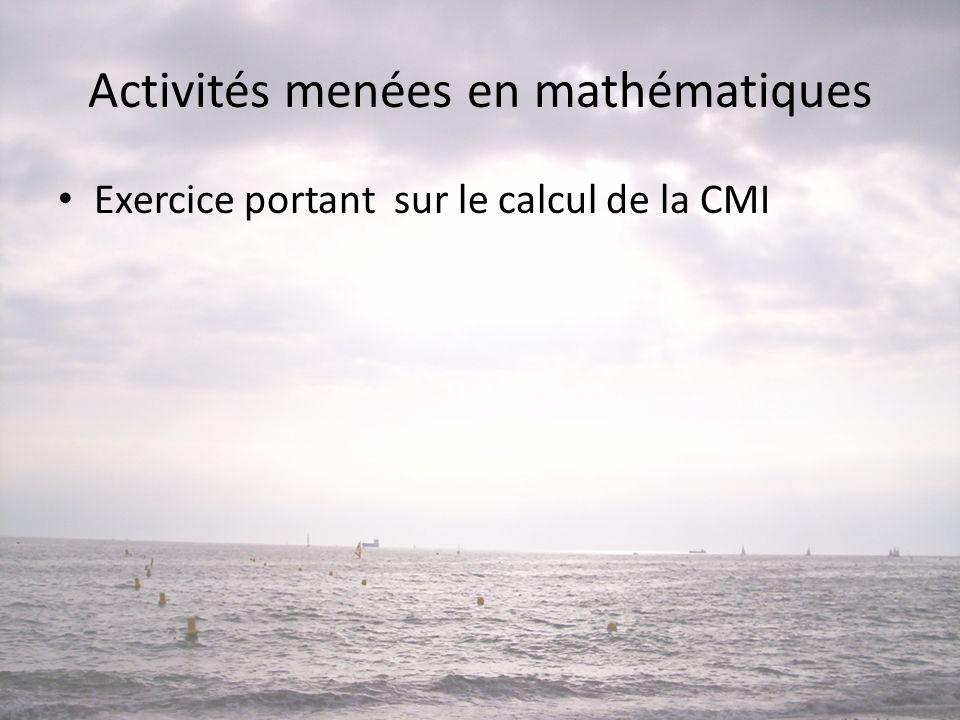 Activités menées en mathématiques