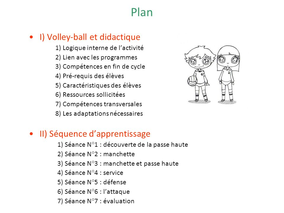 Plan I) Volley-ball et didactique II) Séquence d'apprentissage