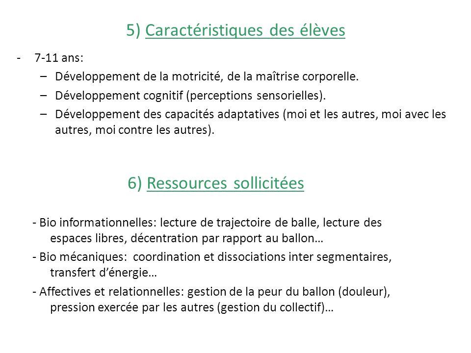 5) Caractéristiques des élèves