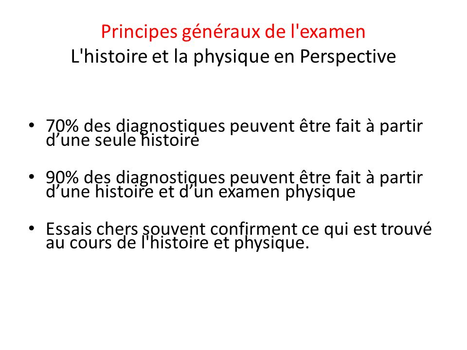 Principes généraux de l examen L histoire et la physique en Perspective