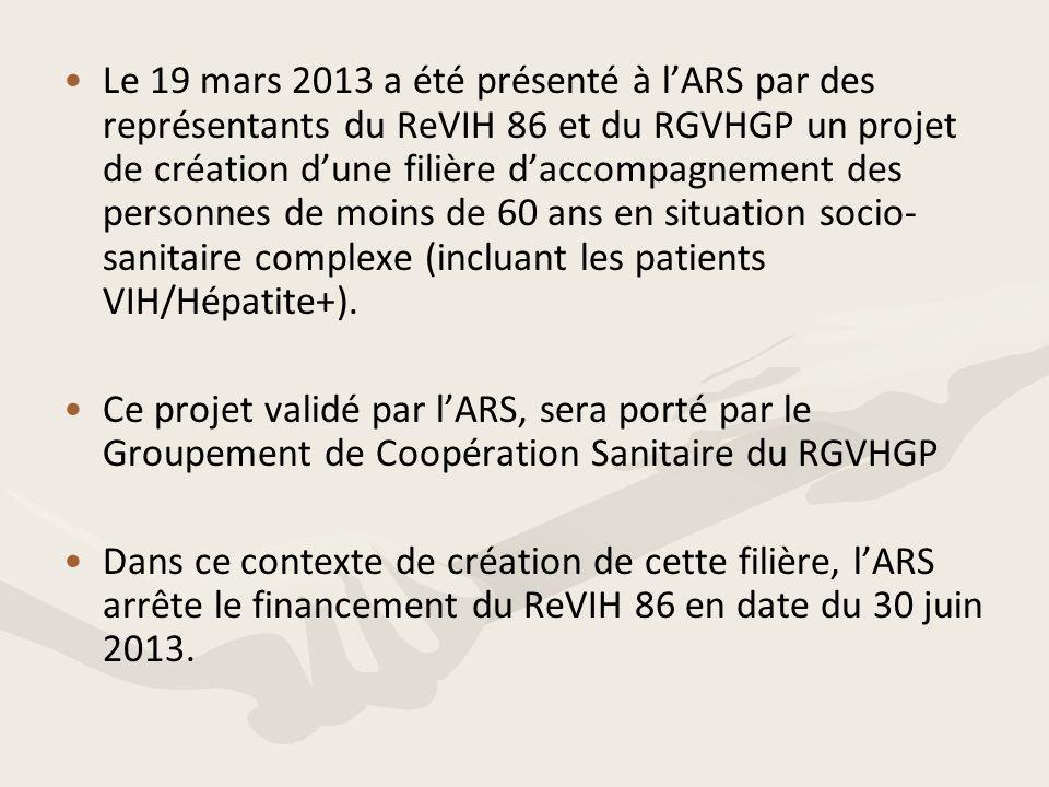 Le 19 mars 2013 a été présenté à l'ARS par des représentants du ReVIH 86 et du RGVHGP un projet de création d'une filière d'accompagnement des personnes de moins de 60 ans en situation socio-sanitaire complexe (incluant les patients VIH/Hépatite+).