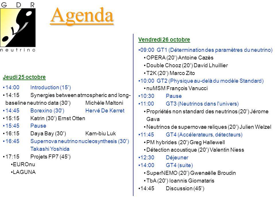 Agenda Vendredi 26 octobre