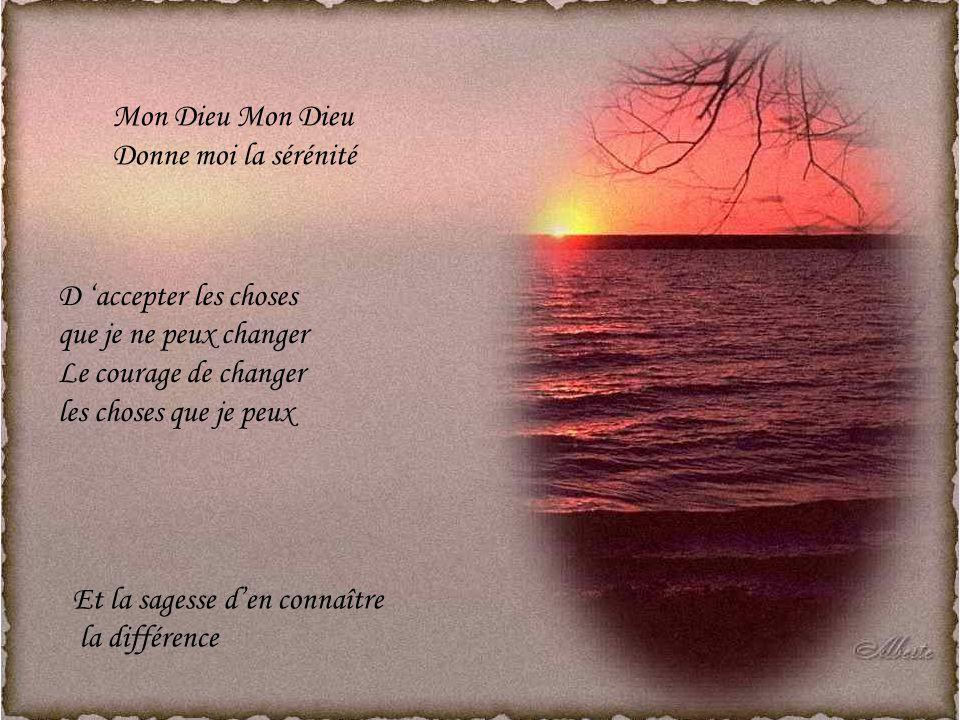 Mon Dieu Mon Dieu Donne moi la sérénité. D 'accepter les choses. que je ne peux changer. Le courage de changer.