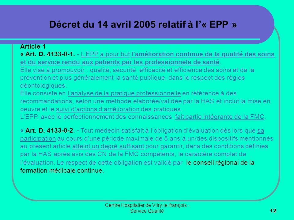 Décret du 14 avril 2005 relatif à l'« EPP »