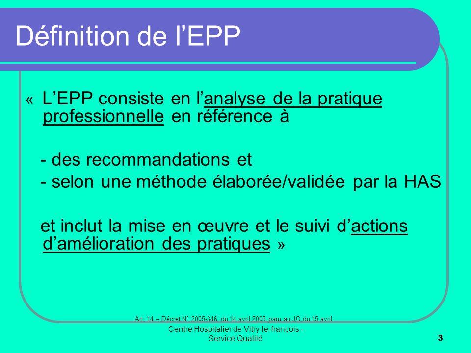 Définition de l'EPP - des recommandations et
