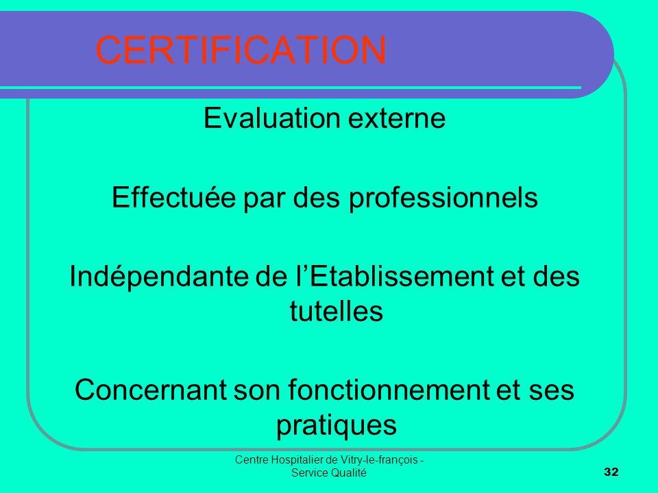 CERTIFICATION Evaluation externe Effectuée par des professionnels