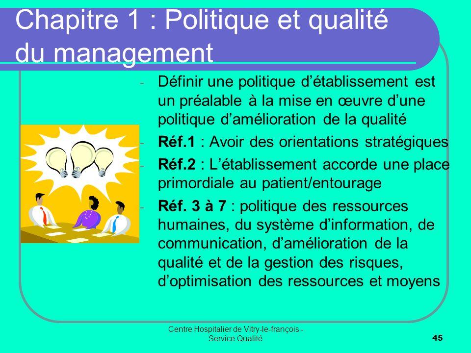 Chapitre 1 : Politique et qualité du management