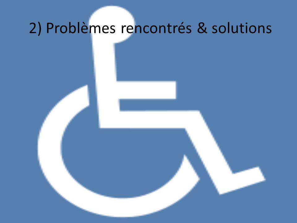 2) Problèmes rencontrés & solutions