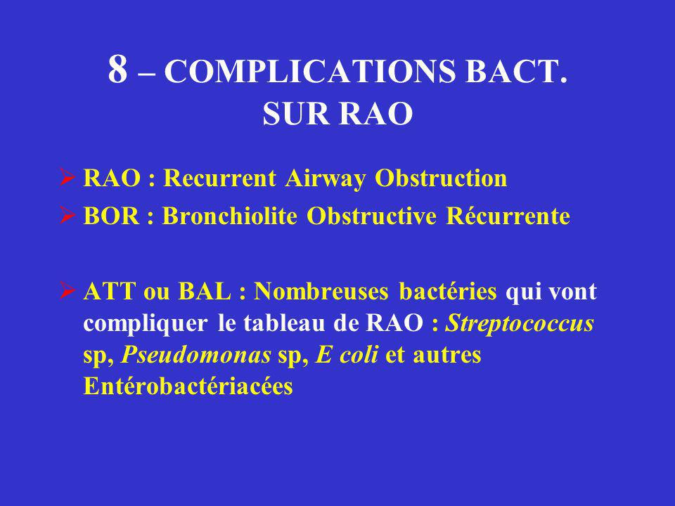 8 – COMPLICATIONS BACT. SUR RAO