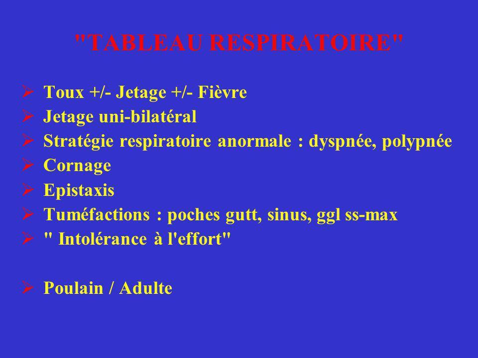 TABLEAU RESPIRATOIRE Toux +/- Jetage +/- Fièvre Jetage uni-bilatéral