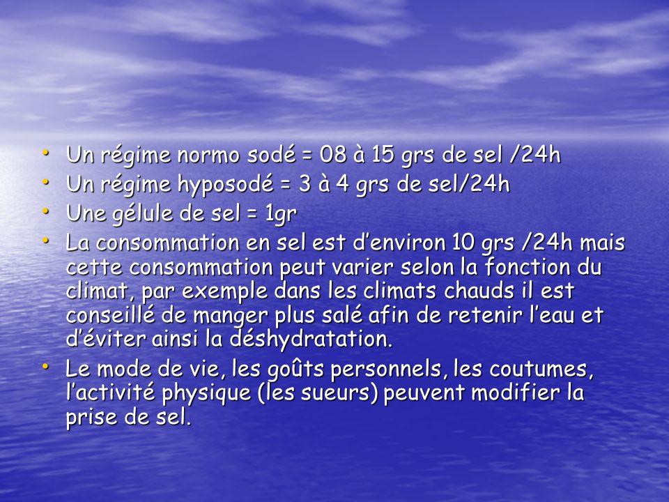 Un régime normo sodé = 08 à 15 grs de sel /24h