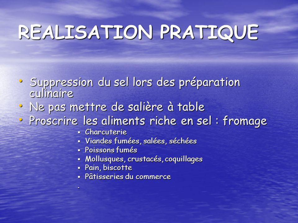 REALISATION PRATIQUE Suppression du sel lors des préparation culinaire