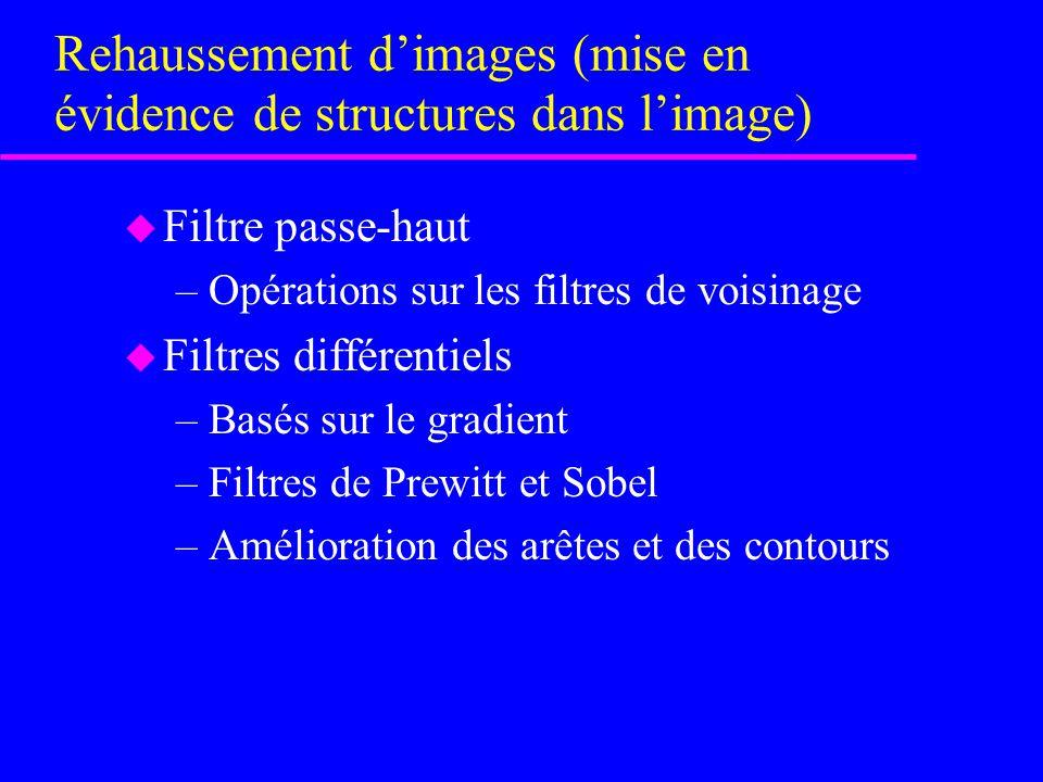 Rehaussement d'images (mise en évidence de structures dans l'image)