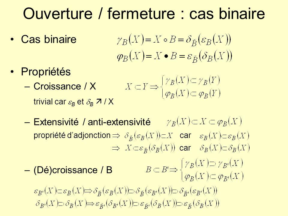 Ouverture / fermeture : cas binaire