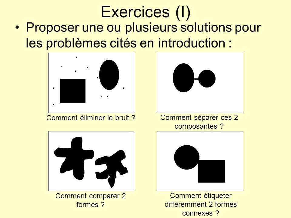 Exercices (I) Proposer une ou plusieurs solutions pour les problèmes cités en introduction : Comment éliminer le bruit