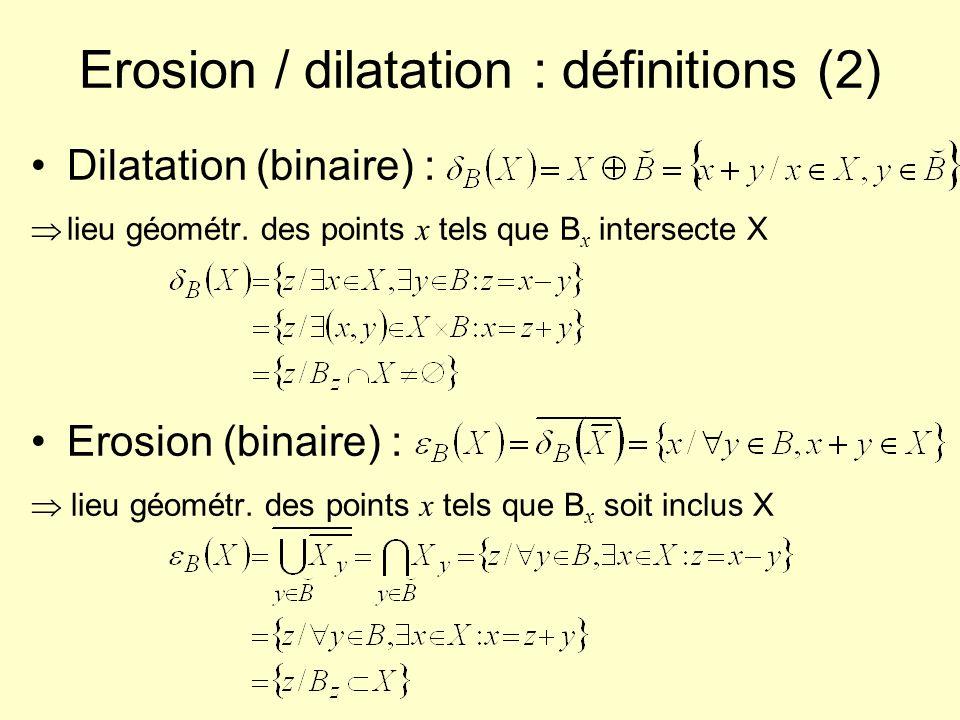 Erosion / dilatation : définitions (2)