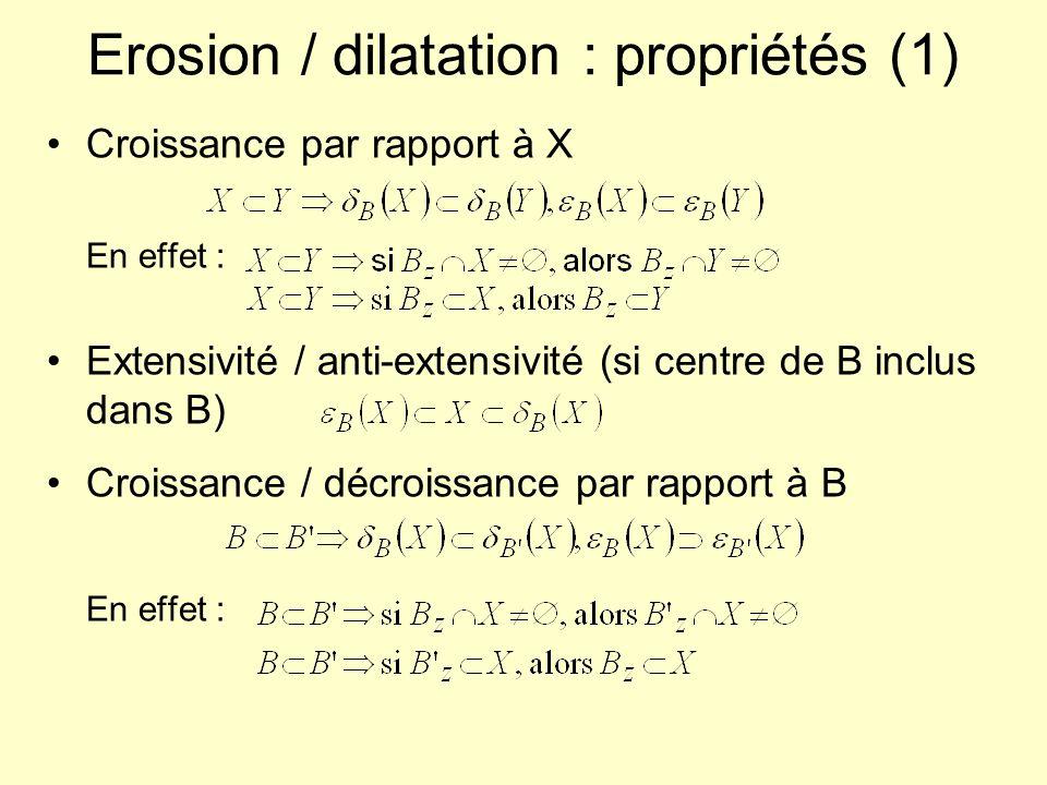 Erosion / dilatation : propriétés (1)