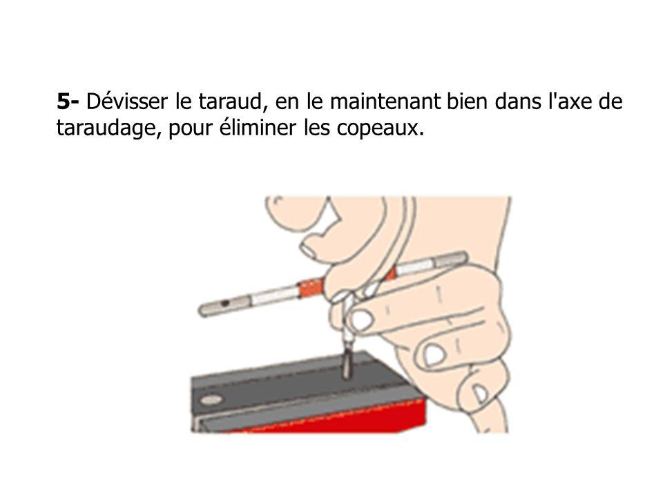 5- Dévisser le taraud, en le maintenant bien dans l axe de taraudage, pour éliminer les copeaux.