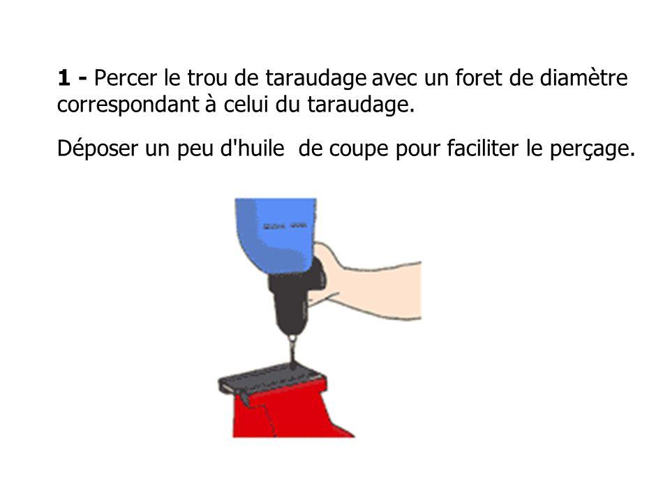 1 - Percer le trou de taraudage avec un foret de diamètre correspondant à celui du taraudage.