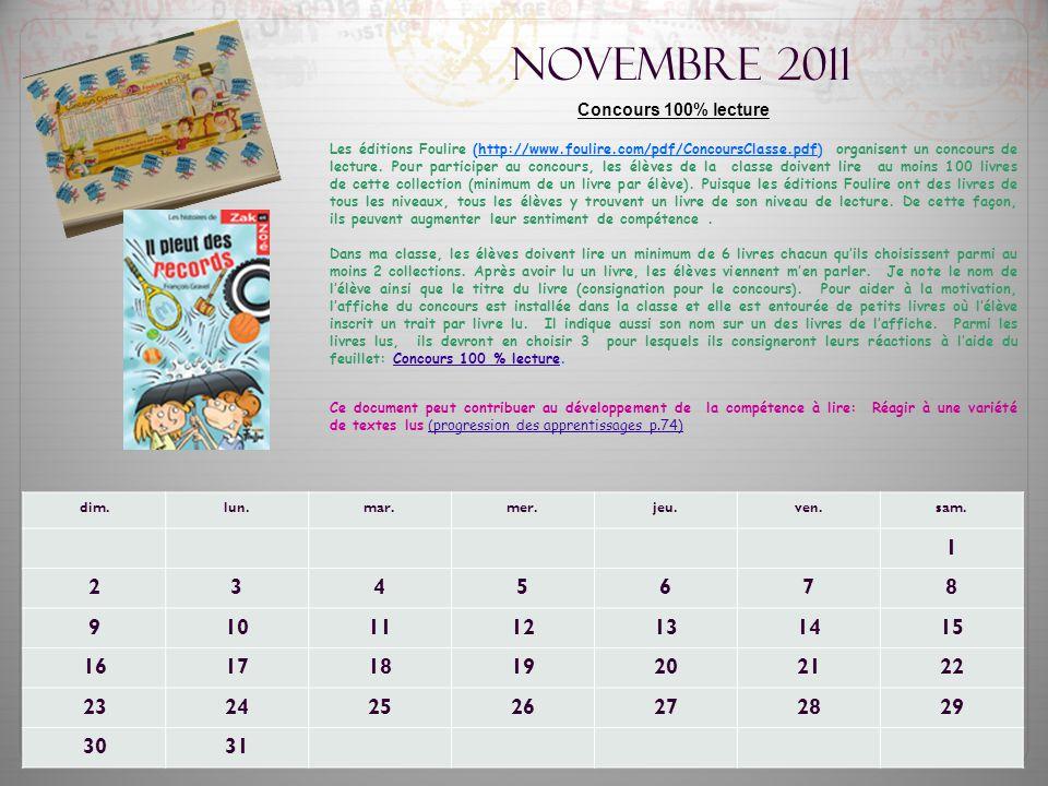 Novembre 2011 Concours 100% lecture.