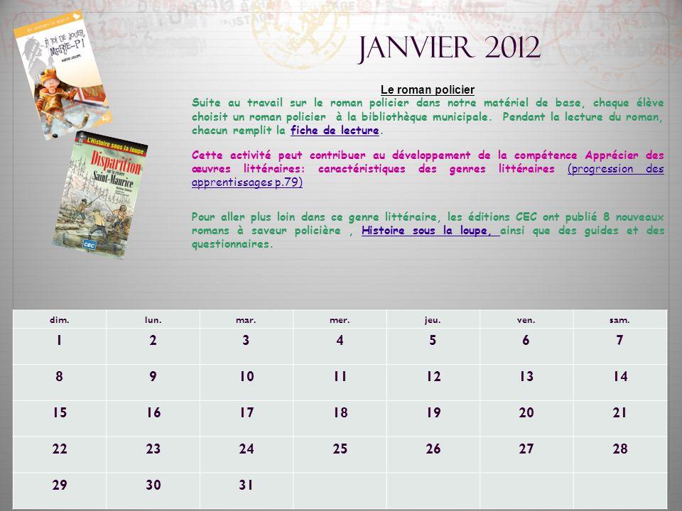 Janvier 2012 Le roman policier.