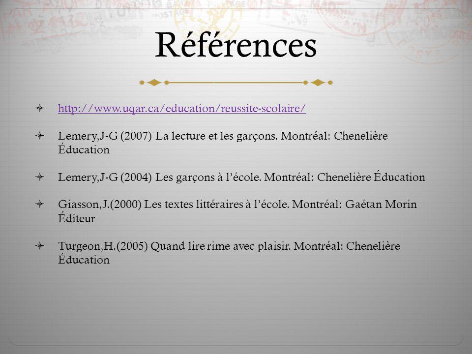 Références http://www.uqar.ca/education/reussite-scolaire/