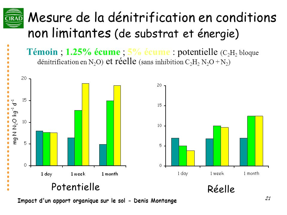 Mesure de la dénitrification en conditions non limitantes (de substrat et énergie)