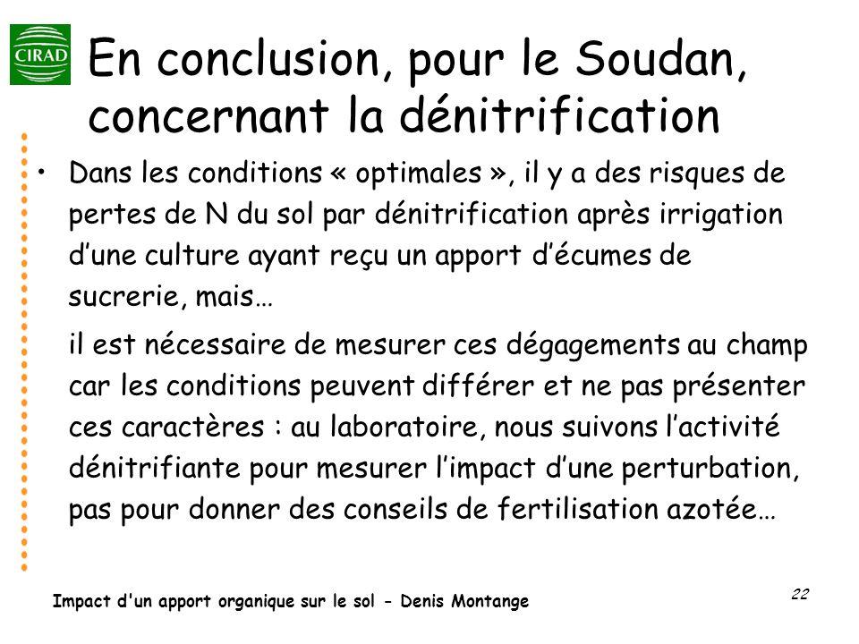 En conclusion, pour le Soudan, concernant la dénitrification