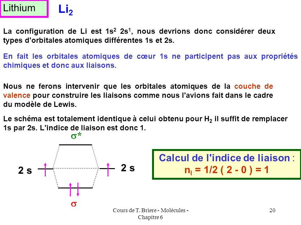 Li2 Lithium s* Calcul de l indice de liaison : nl = 1/2 ( 2 - 0 ) = 1