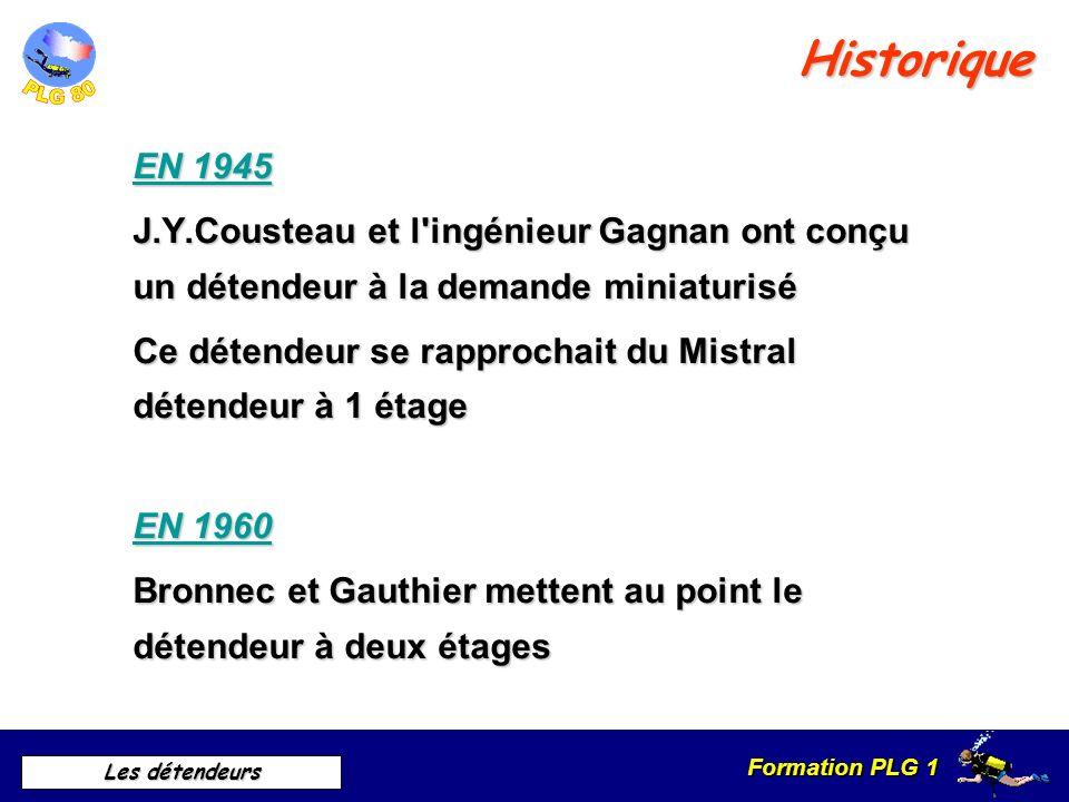 Historique EN 1945. J.Y.Cousteau et l ingénieur Gagnan ont conçu un détendeur à la demande miniaturisé.