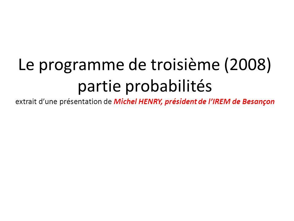 Le programme de troisième (2008) partie probabilités extrait d'une présentation de Michel HENRY, président de l'IREM de Besançon