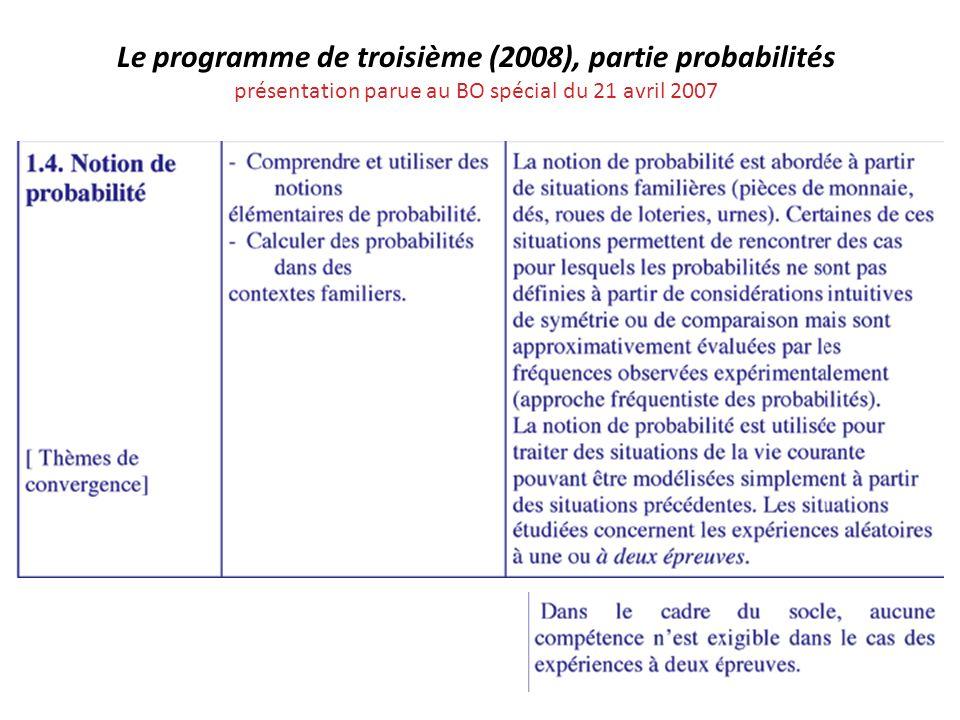 Le programme de troisième (2008), partie probabilités