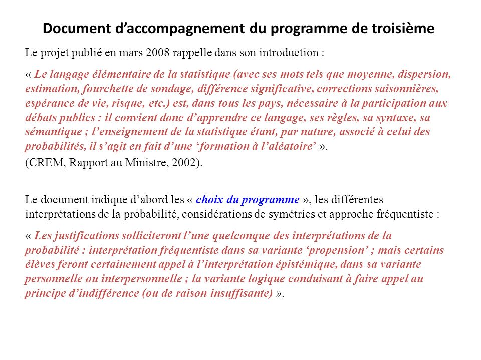 Document d'accompagnement du programme de troisième
