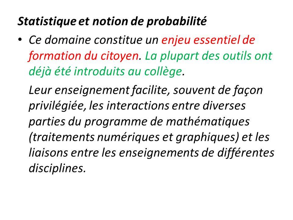 Statistique et notion de probabilité