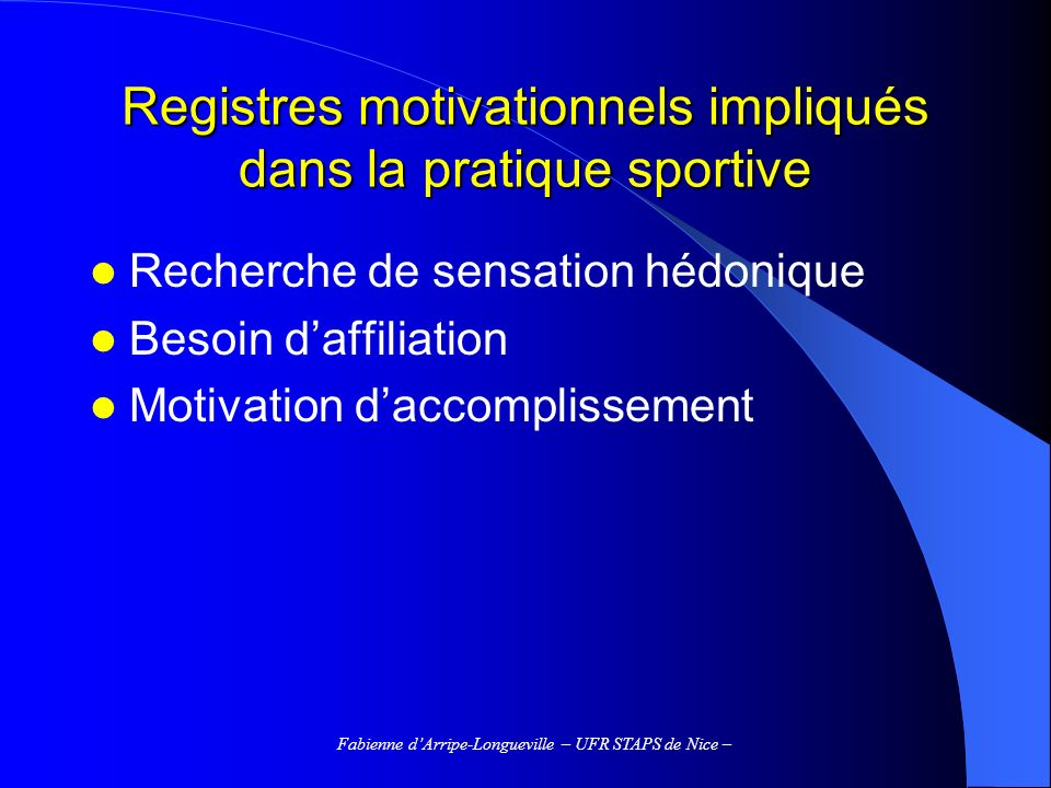 Registres motivationnels impliqués dans la pratique sportive