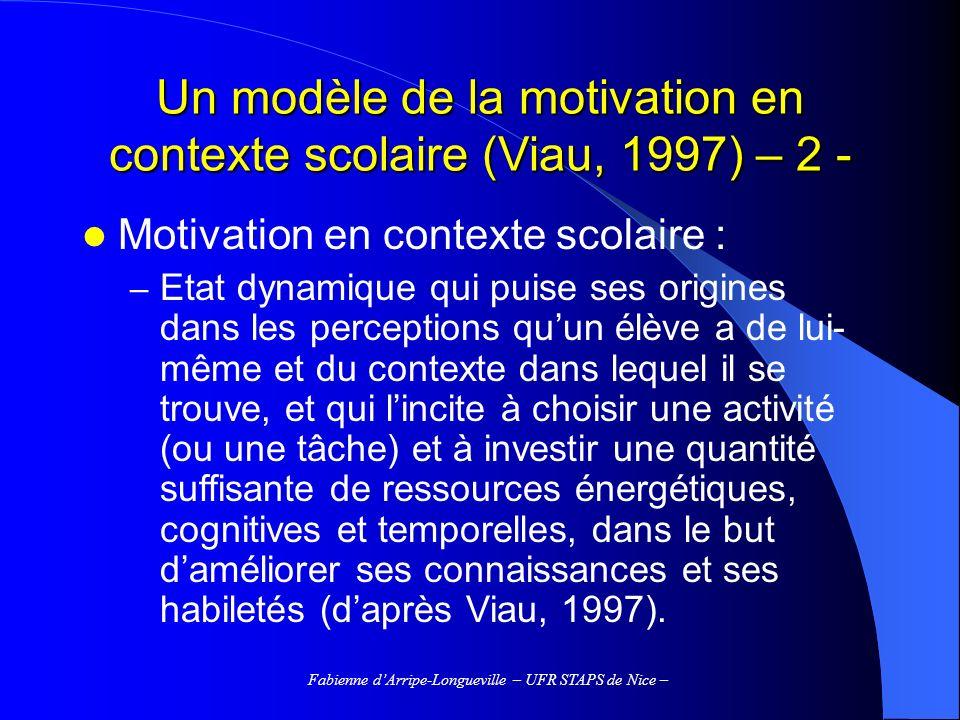 Un modèle de la motivation en contexte scolaire (Viau, 1997) – 2 -