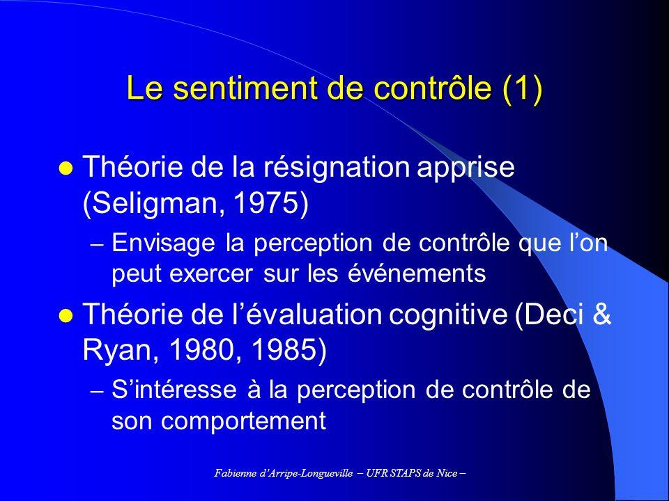 Le sentiment de contrôle (1)